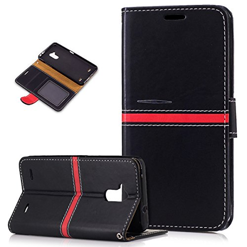 ZTE Blade V7 Lite Case,ZTE Blade V7 Lite Cover,ikasus PU Leather Fold Wallet Pouch Case Wallet Flip Cover Bookstyle Magnetic Card Slots & Stand Protective Case Cover for ZTE Blade V7 Lite,Black