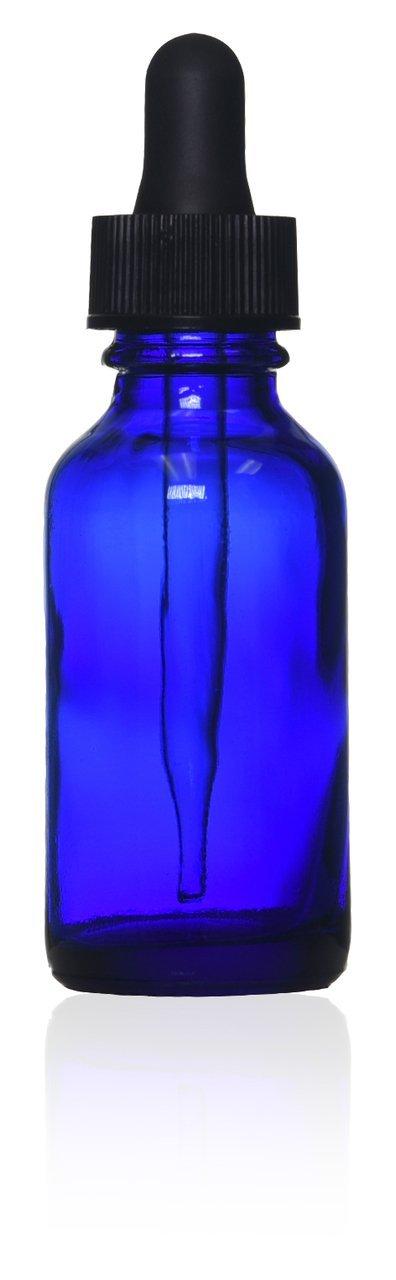 1 Oz (30 Ml) Cobalt Blue Boston Round Glass Bottle w/ Glass Dropper - Pack of 72