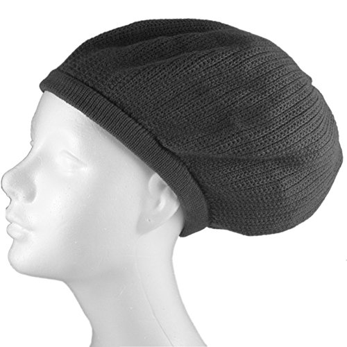 Shoe String King SSK Rasta Knit Tam Hat Dreadlock Cap (Large Round Solid Gray, (Dreadlock Knit Hat)