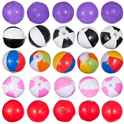 25 Mini Beach Ball Set, Great For Younger Kids Pool Parties Comes Assorted 5 Styles Balls As Illustrated. by Smart N. Inc.