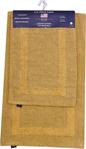 us-polo-association-2-pack-tuft-cotton-bath-rug-set-caramel