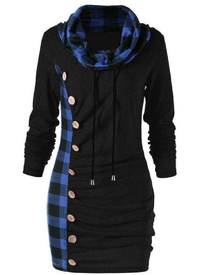 YUNY Women High Neck Plaid Dress Fall Winter Lounge Trench Coat Jacket AS1 S