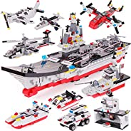 2586 Pieces Aircraft Carrier Building Blocks Set, Military Models Toy, with Tank Car, Command Post, Helicopter