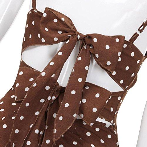 Robe Back Courtes Manches Guesspower Mini sans Les 36 Ete Impression Robe Bow Femme XXL Elgant Caf D't Plage Dot Sexy Chic Robe Mini 44 Femmes S O0OFq8