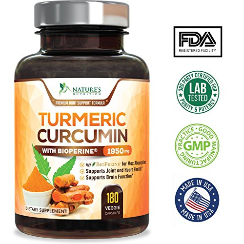 Turmeric Curcumin Max Potency 95% Curcuminoids 1950mg with Bioperine Black Pepper for Best Absorption, Anti-Inflammatory Joint Relief, Turmeric Supplement Pills by Natures Nutrition - 180 Capsules by Nature's Nutrition (Image #1)
