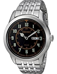 Seiko Mens RECRAFT Quartz Stainless Steel Casual Watch, Color:Silver-Toned (Model: SNE445)
