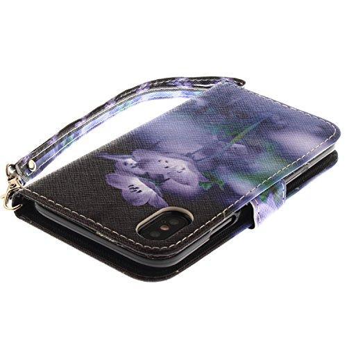 Coque iPhone X Fleurs pourpre Portefeuille Fermoir Magnétique Supporter Flip Téléphone Protection Housse Case Étui Pour Apple iPhone X / iPhone 10 (2017) 5.8 Pouce + Deux cadeau