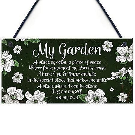 qidushop Cartel para Colgar en el jardín con Texto en inglés ...