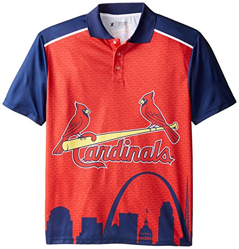 KLEW MLB St. Louis Cardinals Polyester Short Sleeve Thematic Polo Shirt, Red, Large