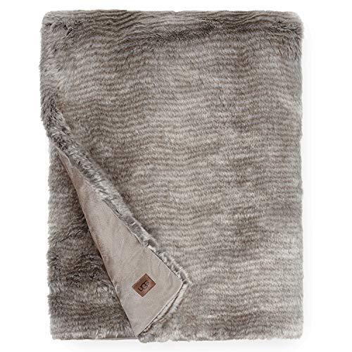 """UGG Kylan Throw Blanket 50"""" x 70"""", Light Sand/Charcoal"""