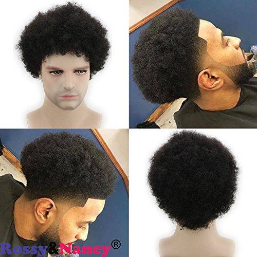 Rossy&Nancy Afro Kinky Curly Short Brazilian Human Hair Man Wig for Men Natural Black Color