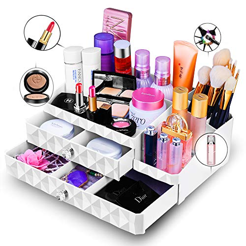 Maxkim Makeup Organizer Jewelry and Cosmetic Storage, Large Capacity,Fit Different Size of Cosmetic,Brushes,Palettes,Lipsticks,2 Drawer 13 Compartment (Large) by Maxkim