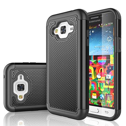 Galaxy Sky Case, J3 /J3 V Case, Galaxy Sol Case, Tekcoo [Tmajor Series] [Black] Shock Absorbing Hybrid Rubber Plastic Defender Rugged Hard Case Cover for Samsung Galaxy Amp Prime/Express Prime