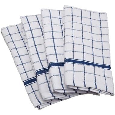 DII 100% Cotton, Machine Washable, Basic Everyday, Terry, Kitchen Dishtowel, Ultra Absorbant, Windowpane Design, 16 x 26  Set of 4- Blue