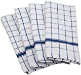 DII Cotton Terry Windowpane Dish Towels, 16 x 26' Set of 4, Machine Washable and Ultra Absorbent Kitchen Bar Towels-Blue