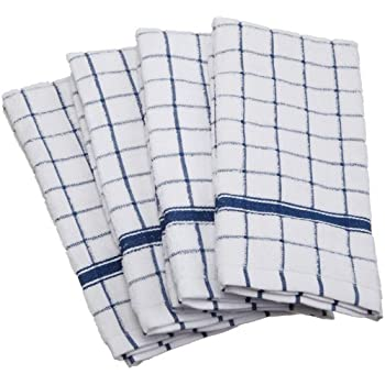 """DII Cotton Terry Windowpane Dish Towels, 16 x 26"""" Set of 4, Machine Washable and Ultra Absorbent Kitchen Bar Towels-Blue"""