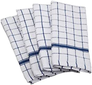 "DII 100% Cotton, Machine Washable, Basic Everyday, Terry, Kitchen Dishtowel, Ultra Absorbant, Windowpane Design, 16 x 26"" Set of 4- Blue"