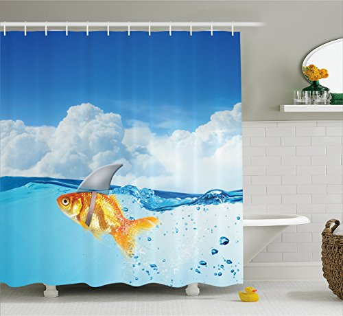 Ambesonne Sea Animal Decor Shower Curtain, Cute Goldfish Shark Fin on Top The Water Fake Comic Nature Image, Fabric Bathroom Decor Set Hooks, 70 inches, Blue Orange by Ambesonne