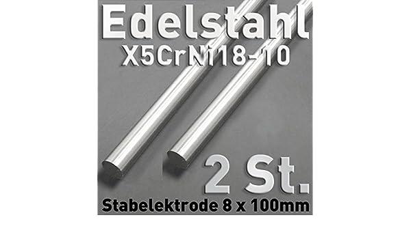 2 pieza de acero inoxidable de anoden de acero inoxidable V2 A, varilla redonda ánodo 100 x ⌀ 8 mm galvanoplástica electrólisis metal: Amazon.es: Bricolaje ...