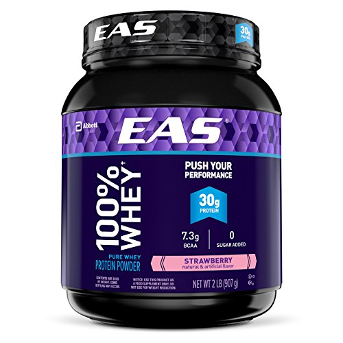 EAS 100% Pure Whey Protein Powder, 30g of Protein, Strawberry, 2 lb (Packaging May (100% Strawberry)