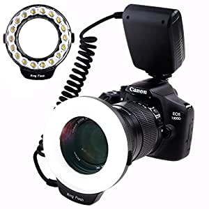 SAMTIAN Macro Ring Flash Photography with 18pcs SMD LED Light【 3 Times Brightness Than 48pcs LED Ring Flash】 for Canon Nikon and Other DSLR Cameras, Fit 49, 52, 55, 58, 62, 67, 72, 77mm Lenses