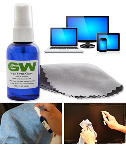 Screen Hdtv (GW Magic Screen Cleaner Kit - Best For All HDTVs, 4K Ultra HD, Smart LED TV, Touch Screens, Kindle, Tablets, Laptops, Eyeglasses, Smartphones, iPhone, iPad, Samsung, LG, Sony, RCA, Panasonic, Vizio with Portable Spray Bottle and Premium Microfiber Cloths)