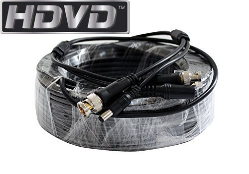 HDVD Premade 1 x 50 feet Siamese CCTV Coaxial Cable RG59 Combo Cable for Connecting HD-SDI HD-TVI HD-CVI ANALOG AHD 720P / 1080P Camera System with BNC Connector and 2.1mm Power Connector (Black)