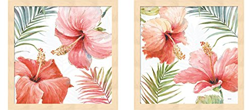(Tropical Blush by Lisa Audit, 2 Piece Natural Framed Art Set, 13 X 13 Inches Each, Floral)
