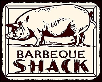 amazon com barbeque shack pig bbq vintage meat retro tin sign
