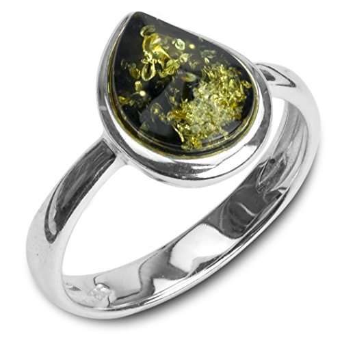 Green Amber Sterling Silver Teardrop Ring Sizes 5,6,7,8,9,10,11,12
