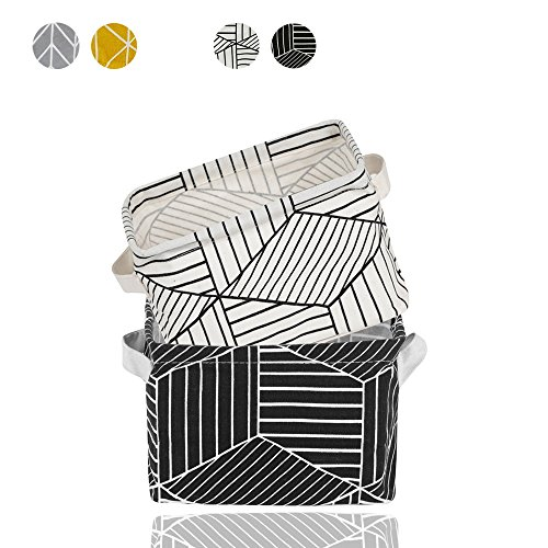 2 Pack Small Foldable Storage Basket Canvas Fabric Waterproof Organizer Collapsible and Convenient For Nursery Babies Room 100% COTTON with Handle (White+Black)