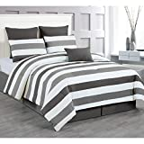 Duck River Textile -  Darby Hotel Quality Luxury Comforter Duvet Insert Cover Hypoallergenic   7 Piece Set   Stripe Collection,   King Size   Charcoal & Grey