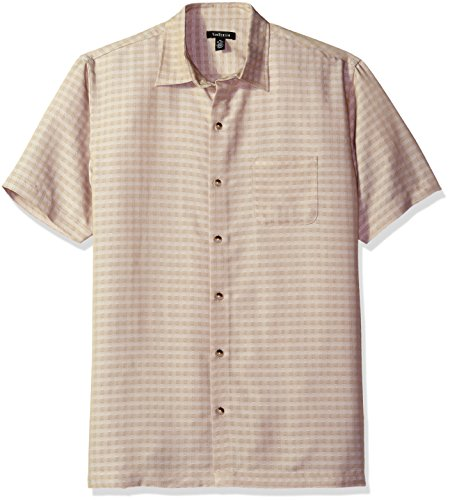 Van Heusen Men's Printed Rayon Short Sleeve Shirt, Khaki Twill, Large