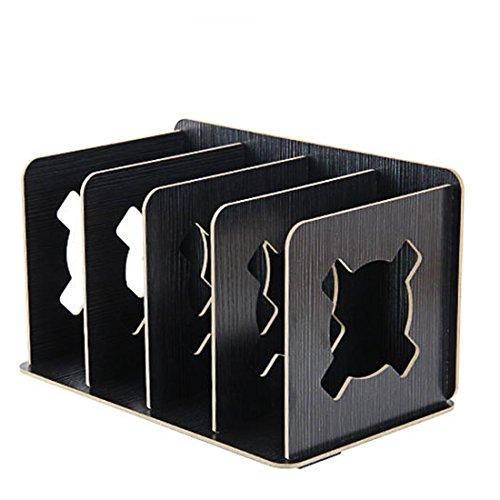 RAVPump Creative Wooden DIY Desk Book Storage Rack Home Desktop Organizer Shelf Office Supplies Files Stand Holder (Silver Black) by RAVPump