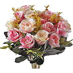Artificial Flower Bouquet 10 Heads Silk Spring Roses Arrangements Valentine's Day Gift Deep Pink