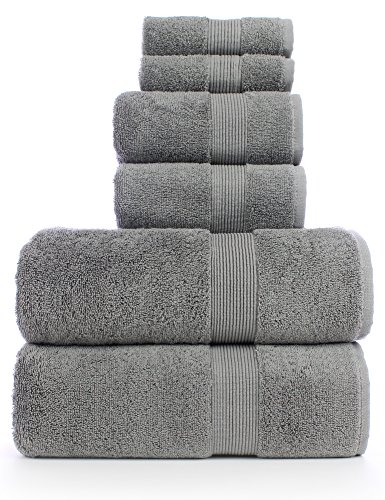 TURKUOISE TURKISH TOWEL 6 Piece Turkish Luxury Turkish Cotton Towel Set - Eco Friendly, 2 Bath Towels, 2 Hand Towels, 2 Wash Clothes (6, Wide Border-GRY)