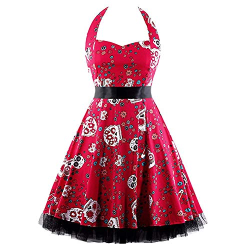 New Style Red Women Dress Plus Size Summer Clothing 2017 Skull Floral Pin up Retro Vintage 60s 50s Rockabilly print Dress Clearance