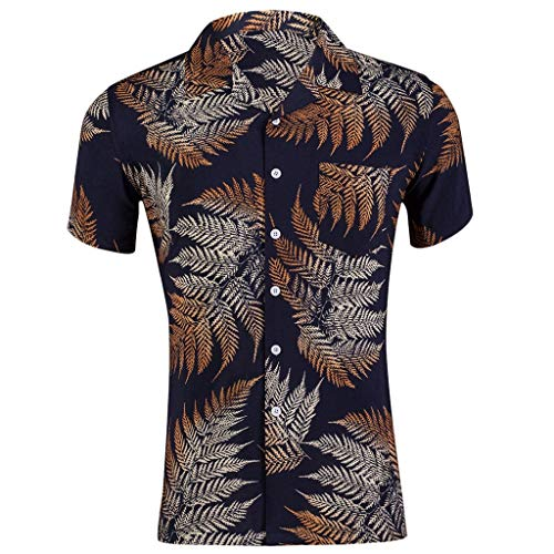 haoricu Men Hawaiian Holiday Blouse v Neck Short Sleeve Button Down t Shirt Brown Leaf Printed Slim Shirt