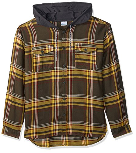 (Columbia Men's Flare Gun Flannel Hoodie, Peatmoss Multi Plaid, XL)