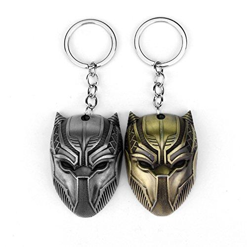 Civil War Keychain - 2 Alloy Keychains, Avengers Captain America 3 Civil War Panther Mask Keychain Set (Bronze/Ancient tin)
