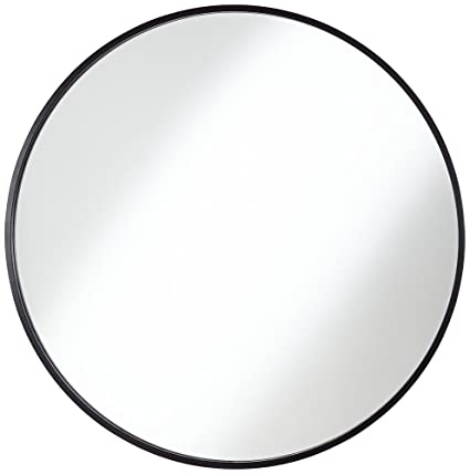 Amazon Com Mayfair Matte Black 34 Round Wall Mirror Home Kitchen