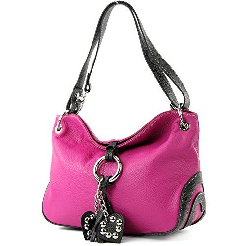 Modamoda deT10 - Bolso de piel italiana para mujer, tamaño mediano Pink/Dunkelbraun