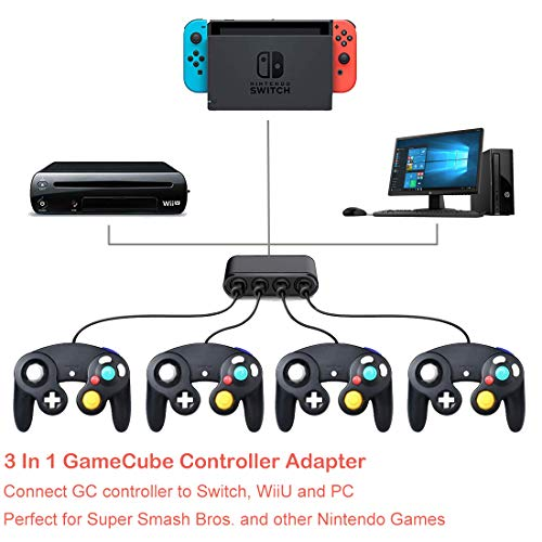 Defway Switch Gamecube Controller Adapter, Wii U Gamecube Adapter Super  Smash Bros Ultimate, GC Controller Adpater for PC, with 4 Player Ports and
