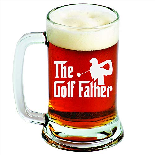 The Golf Father - Engraved Beer Glass - 16oz Clear Pint Glass - Funny Gifts For Men and Women by Sandblast -