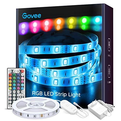 Tiras LED, Govee Luces LED RGB 5M con Control Remoto de 44 Botones y Caja de Control, 150 LEDs 20 Colores 8 Modos de Brillo y 6 opciones DIY para la Habitación, Dormitorio, Techo, 12V