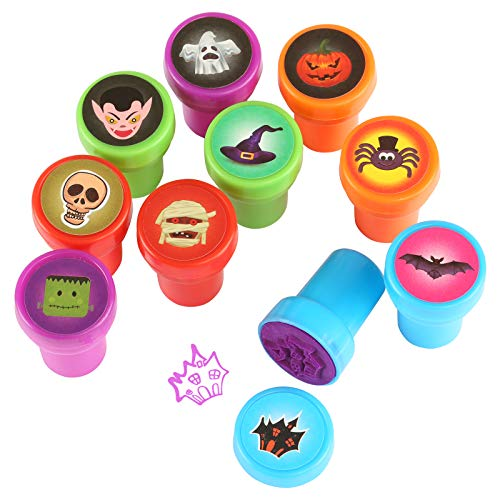 Kesoto Halloween Stamps Halloween Assorted Stampers Kids Self-Ink Stamps - Pack of 10 ()