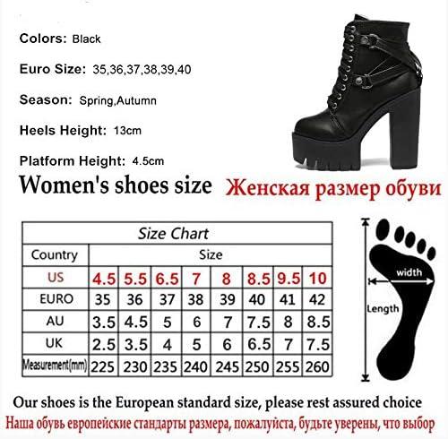 CHZDSB Femmes Bottes Noires Femmes Talon Printemps Automne À Lacets Doux Plateforme Chaussures Femme Partie Bottes À Talons Hauts Talons 6.5 Chaussures Noires