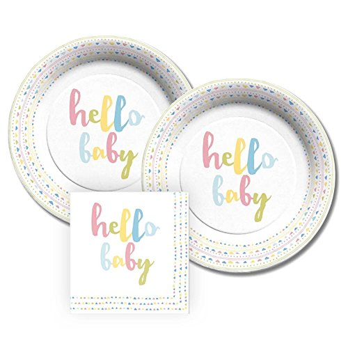 CR Gibson Hello Baby Paper Dessert Plates and Paper Napkins, Bundle- 3 Items ()