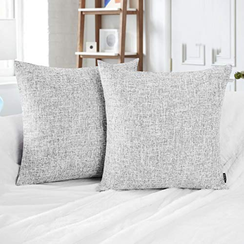 ve Set of 2 Textural Faux Linen Series Throw Pillow Case Cushion Cover Grey 22