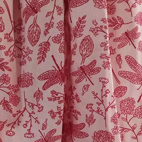 Redondo Y Verano Media Cuartos Noche Sección Oliviavan Pequeño Mujer Fresco Rosado La Imprimiendo Cuello Siete Vestido vestido Falda Larga Manga De Fiesta Estampado Retro Mujer qUZfqA